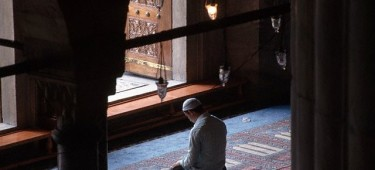 Muslim at Prayer Inside the Blue Mosque